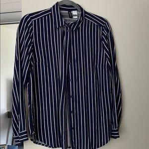 Striped navy blue long sleeve blouse
